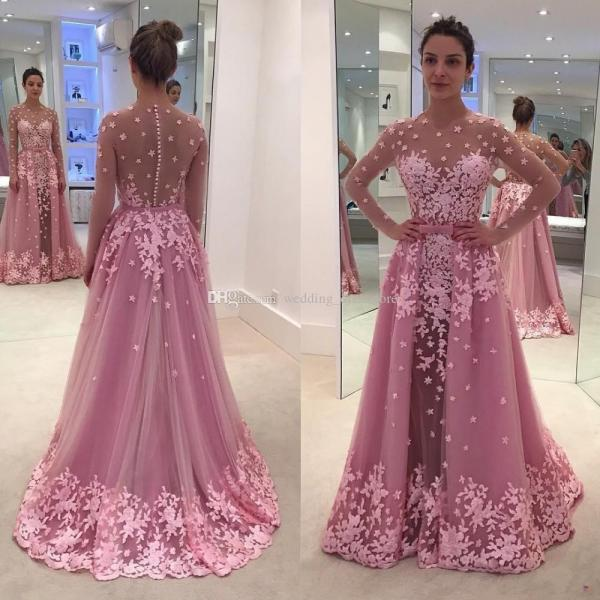 Pink Detachable Train Mermaid Evening Dresses Scoop Neck Full Sleeve With Appliques Flower Illusion Tulle Prom Gowns
