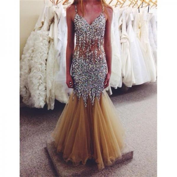 Crystal V-Neck Prom Dresses Beading Sleeveless Off the Shoulder Sphaghetti Strap Mermaid Evening dress Party Dresses Vestidos de Noiva