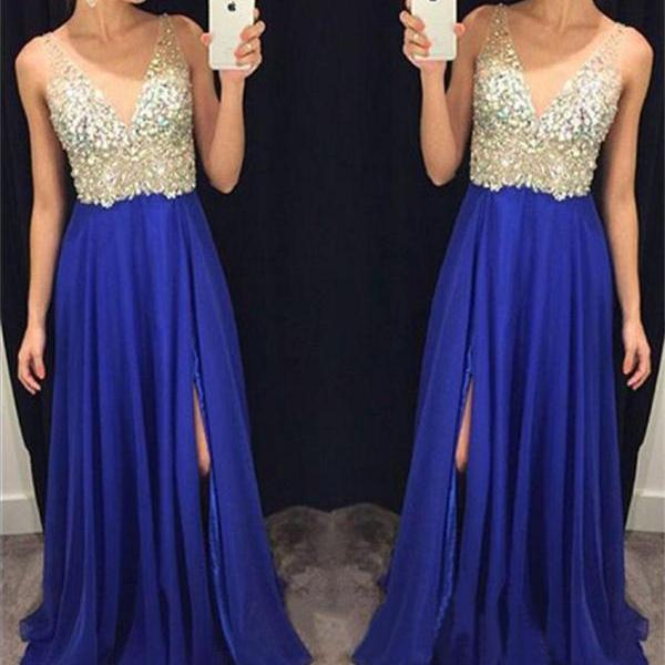 Spaghetti Strap Beading 2018 Prom Dresses Chiffon Draped V-Neck Sleeveless Floor-Length None Train Sexy Vestidos de Novia Evening Dresses