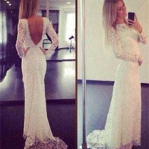 2018 Sexy Mermaid Wedding Dress, Lace Wedding Dresses. V-neck Long Sleeves Bridal Dress, Backless Long Bridal Gown