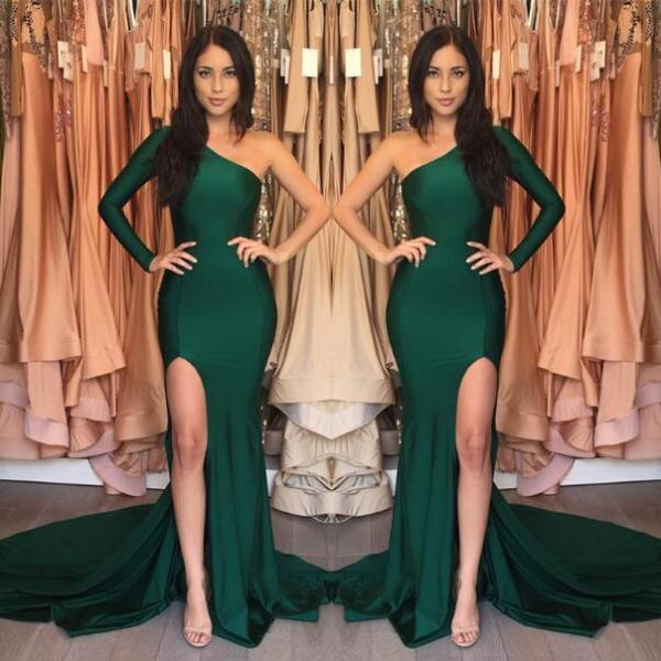 New Arrival Green Front-Split One Shoulder Sexy Prom Dress,Mermaid Evening Dress