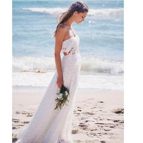 Two Pieces Beach Boho Wedding Dresses Vintage Lace Off the Shoulder Bride Gowns A Line White Ivory Custom Made