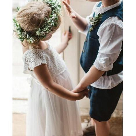 2018 Summer Boho Flower Girl Dresses Lovely Lace Cap Sleeves Cap Sleeves Princess Kids Birthday First Communion Dress