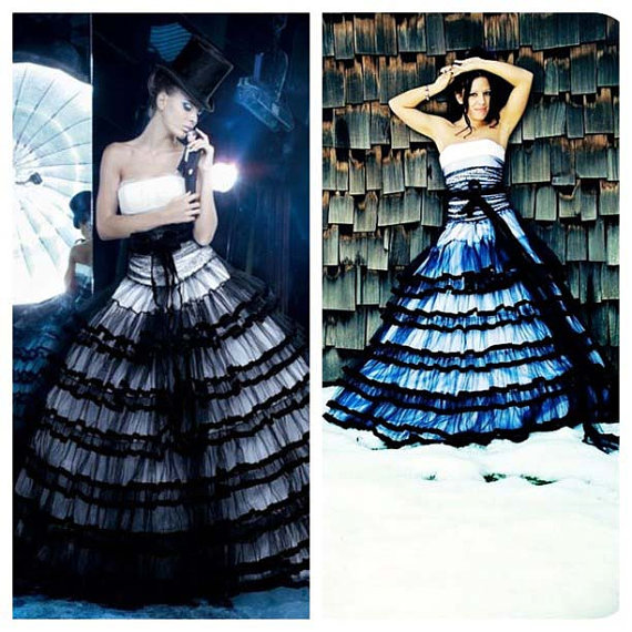 2016 Real Image Gothic Wedding Dresses Vestidos de Novia Mermaid Strapless Black&White Ruffle Tulle Beads Wedding Dress Bridal Gowns