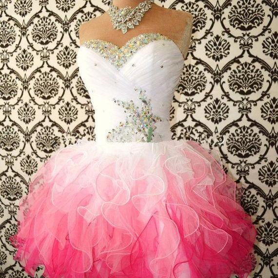 2016 Real Image Sexy Prom Dresses A-Line Pink&White Sweetheart Beads Rhinestones Crystals Lace Up Mini Short Organza Formal Evening Party Gowns Vestidos