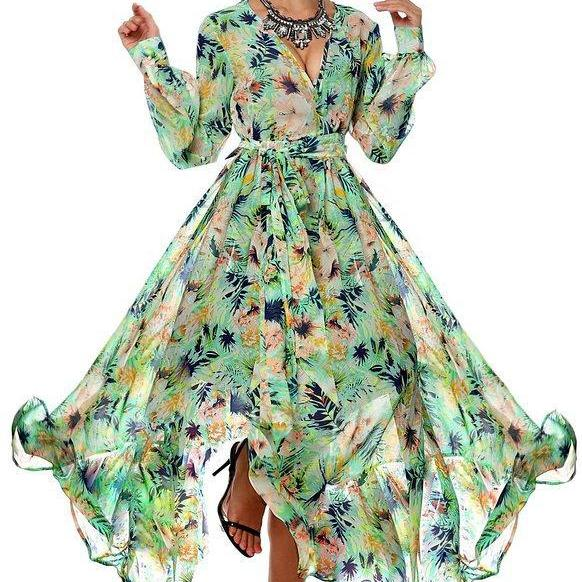 2016 Sexy Cheap Party Dress New Arrival V-neck Flowers Print Long Sleeves Prom Evening Dresses Women Gowns Vestidos