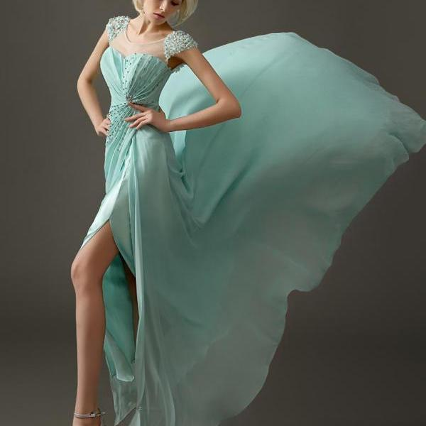 Elegant Cap Sleeve Beaded Chiffon Side Slit Mint Green Custom Made Long Formal Party Evening Dresses