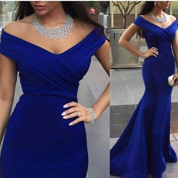 Hot Sale Cheap Arabic Royal Blue Mermaid Evening Dresses Elegant 2016 Sexy V Neck Cap Sleeve Formal Women Runway Celebrity Gowns