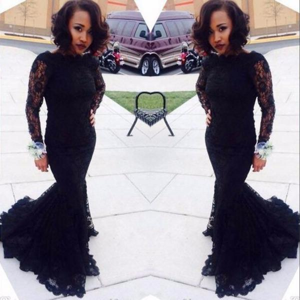 Sexy Long Sleeve Black Mermaid Lace Prom Dresses Abendkleider lang 2016 Women Formal Gowns Mermaid Evening Dresses