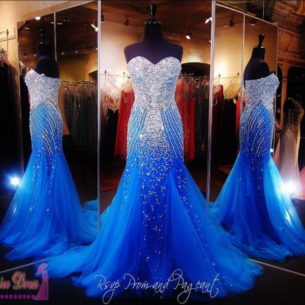 Vestido Longo Royal Blue Long Dress Party Evening Beaded Crystals Elegant Custom Made Cheap Formal Prom Dresses