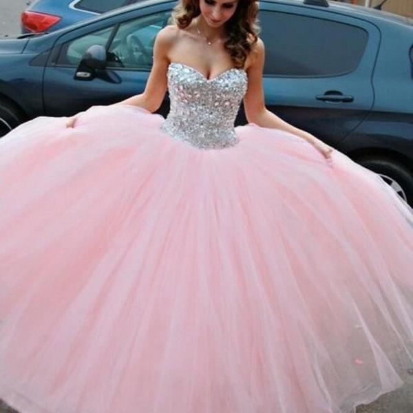 Free Shipping Sparkle Crystals Sweet 16 Dresses Sweetheart Ball Gown Pink Quinceanera Dresses New Arrival