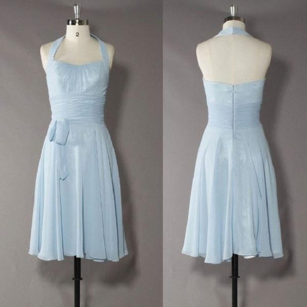 A-line Halter Bow Embellished Sleeveless Knee-length Light Sky Blue Chiffon Bridesmaid Dresses,Wedding Party Dress