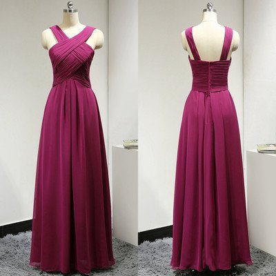 Custom Made Fuchsia Pink Strappy Ruched A-Line Chiffon Long Evening Dress, Bridesmaid Dresses, Prom Dresses